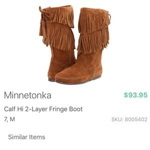 Minnetonka Brown Suede Calf 2 Layer Fringe Boots